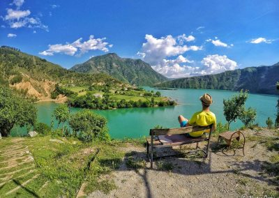 Enjoying the view from the Guesthouse in Komani Lake